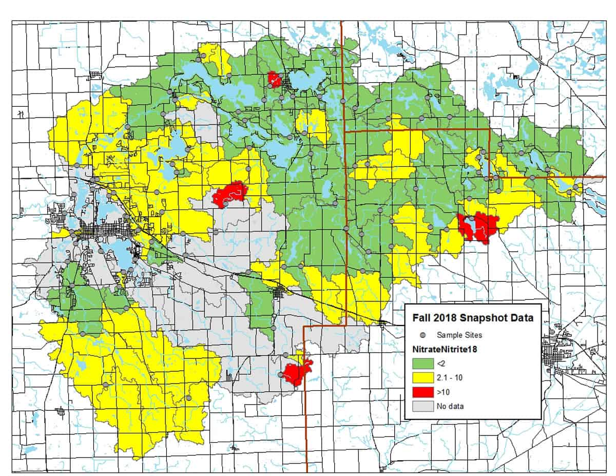 2018 Snapshot Water Monitoring Day - Nitrate Results Map